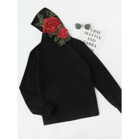 7376f220b2401 SHEIN Tops | 3d Embroidery Applique Floral Sweatshirt | Poshmark